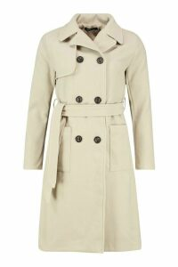 Womens Longline Pocket Detail Wool Look Trench Coat - beige - 10, Beige