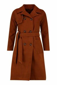 Womens Longline Pocket Detail Wool Look Trench Coat - brown - 10, Brown