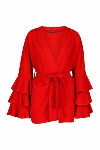 Womens Ruffle Sleeve Kimono - orange - M, Orange