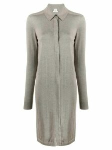 Hermès Pre-Owned knitted shirt dress - Grey