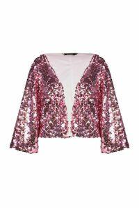 Womens Sequin Crop Jacket - Pink - M, Pink