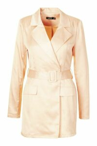 Womens Satin Tailored Wrap Front Blazer Playsuit - Beige - 16, Beige
