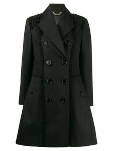 Burberry Pre-Owned macramé details A-line double breasted coat - Black