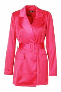 Womens Satin Tailored Wrap Front Blazer Playsuit - 16, Red