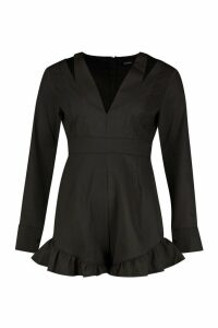 Womens Tailored Ruffle Hem Flared Sleeve Playsuit - black - 14, Black