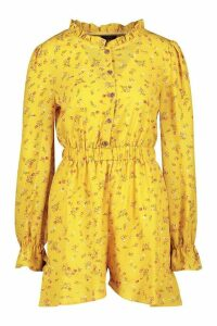 Womens Ditsy Floral Ruffle Playsuit - yellow - 14, Yellow