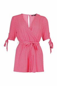 Womens Ditsy Heart Wrap Playsuit - red - 16, Red