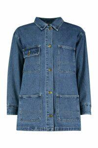 Womens Utility Pocket Longline Denim Jacket - blue - 16, Blue