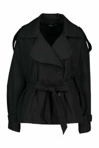 Womens Short Belted Trench Coat - black - 14, Black