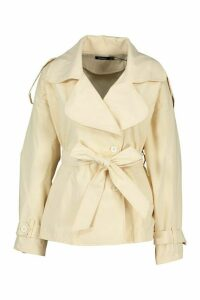 Womens Short Belted Trench Coat - beige - 14, Beige