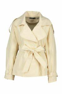 Womens Short Belted Trench Coat - beige - 14, Beige