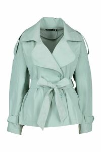 Womens Short Belted Trench Coat - green - 14, Green