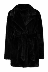 Womens Belted Faux Fur Coat - black - 14, Black