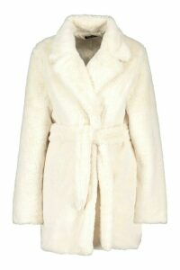 Womens Belted Faux Fur Coat - white - 14, White