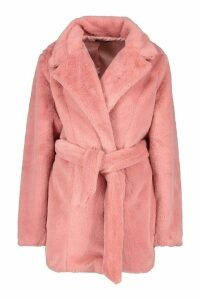 Womens Belted Faux Fur Coat - pink - 14, Pink