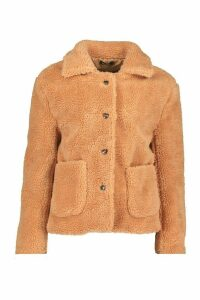 Womens Button Through Teddy Faux Fur Coat - beige - 14, Beige