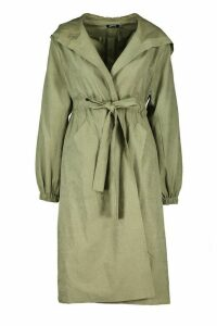 Womens Hooded Belted Trench Coat - green - 14, Green