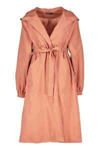 Womens Hooded Belted Trench Coat - pink - 12, Pink