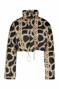 Womens Crop Chain Print Puffer Jacket - black - 14, Black