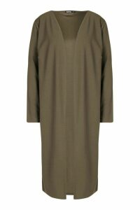 Womens Collarless Duster Coat - green - S/M, Green