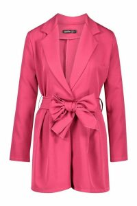 Womens Belted Tailored Playsuit - Pink - 14, Pink