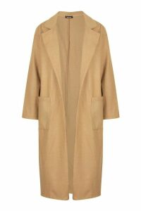 Womens Oversized Patch Packet Wool Look Coat - beige - 12, Beige