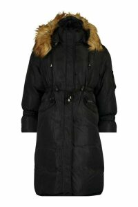 Womens Oversized Faux Fur Trim Parka - black - 14, Black