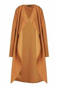 Womens Waterfall Duster Coat - beige - M/L, Beige