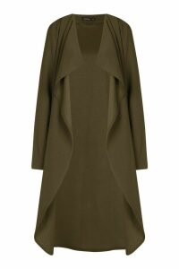 Womens Waterfall Duster Coat - green - S/M, Green