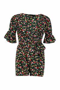 Womens Ditsy Floral Wrap Ruffle Playsuit - black - 16, Black