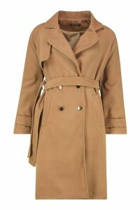 Womens Belted Military Double Breasted Trench Coat - beige - 14, Beige