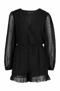 Womens Wrap Dobby Mesh Blouson Sleeve Playsuit - black - 12, Black