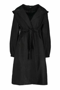 Womens Hooded Belted Trench Coat - black - 10, Black