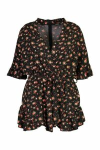 Womens Plus Ditsy Floral Ruffle Wrap Belted Playsuit - black - 20, Black