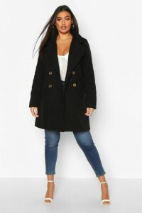 Womens Plus Double Breasted Button Wool Look Coat - black - 20, Black