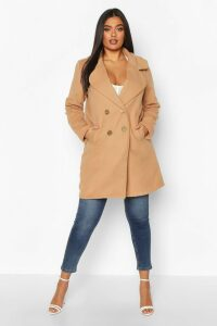 Womens Plus Double Breasted Button Wool Look Coat - beige - 20, Beige