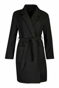 Womens Plus Heavy Wool Look Wrap Duster Coat - black - 20, Black