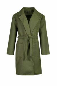 Womens Plus Heavy Wool Look Wrap Duster Coat - green - 20, Green
