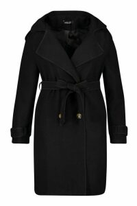 Womens Plus Military Detail Wool Look Trench Coat - black - 18, Black