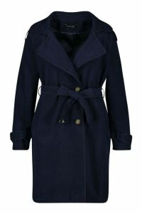 Womens Plus Military Detail Wool Look Trench Coat - navy - 20, Navy