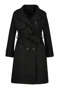 Womens Plus Pocket Front Wool Look Trench Coat - black - 20, Black