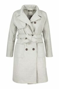 Womens Plus Pocket Front Wool Look Trench Coat - grey - 20, Grey