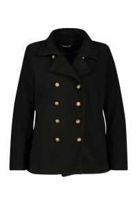 Womens Plus Military Button Detail Crop Coat - black - 24, Black