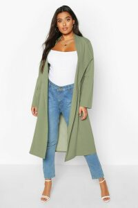Womens Plus Pocket Thick Duster Coat - green - 18, Green