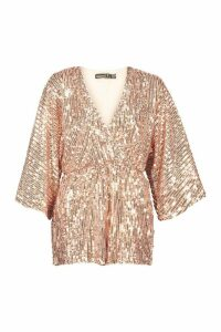 Womens Petite Sequin Wrap Flippy Playsuit - pink - 14, Pink