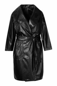 Womens Plus PU Belted Wrap Coat - black - 24, Black