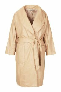 Womens Plus PU Belted Wrap Coat - beige - 20, Beige