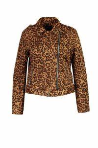 Womens Plus Leopard Suedette Biker Jacket - brown - 18, Brown