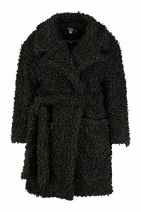 Womens Plus Teddy Faux Fur Belted Coat - black - 20, Black
