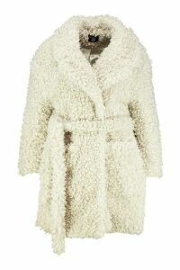 Womens Plus Teddy Faux Fur Belted Coat - white - 20, White